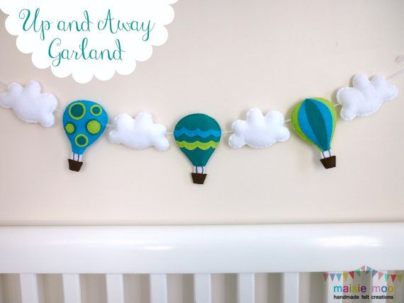 Hot Air Balloon Garland - Bunting - Banner -Teal, Lime and Aqua - Moveable