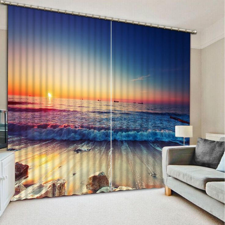 beautiful seaside sunrise blackout wndow curtains for living room kids boys bedding room decorative home drapes cotinas para