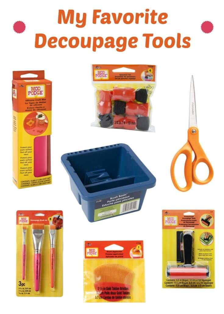 What are my essential decoupage supplies for my Mod Podge crafts? Learn all about them in this information post! Get my first and second-tier recommended tools for DIY projects. via @modpodgerocks