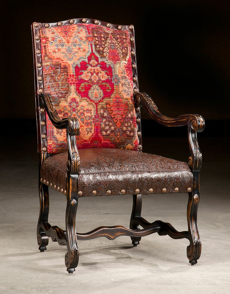 Paul Roberts Autry Chair Showcasing Tropical Tooled By Barbarossa Leather  On The Seat.