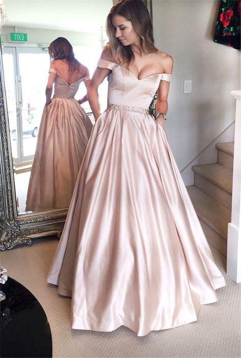 Off os vestidos de ombro Prom, vestido de festa, Prom simples