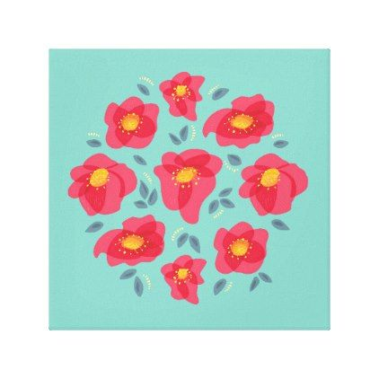 Pretty Floral Pattern With Bright Pink Petals Canvas Print - decor gifts diy home & living cyo giftidea