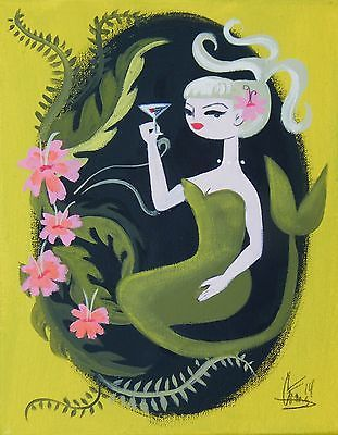 EL GATO GOMEZ PAINTING RETRO MID CENTURY MERMAID 1950S HAWAII TIKI BAR MARTINI