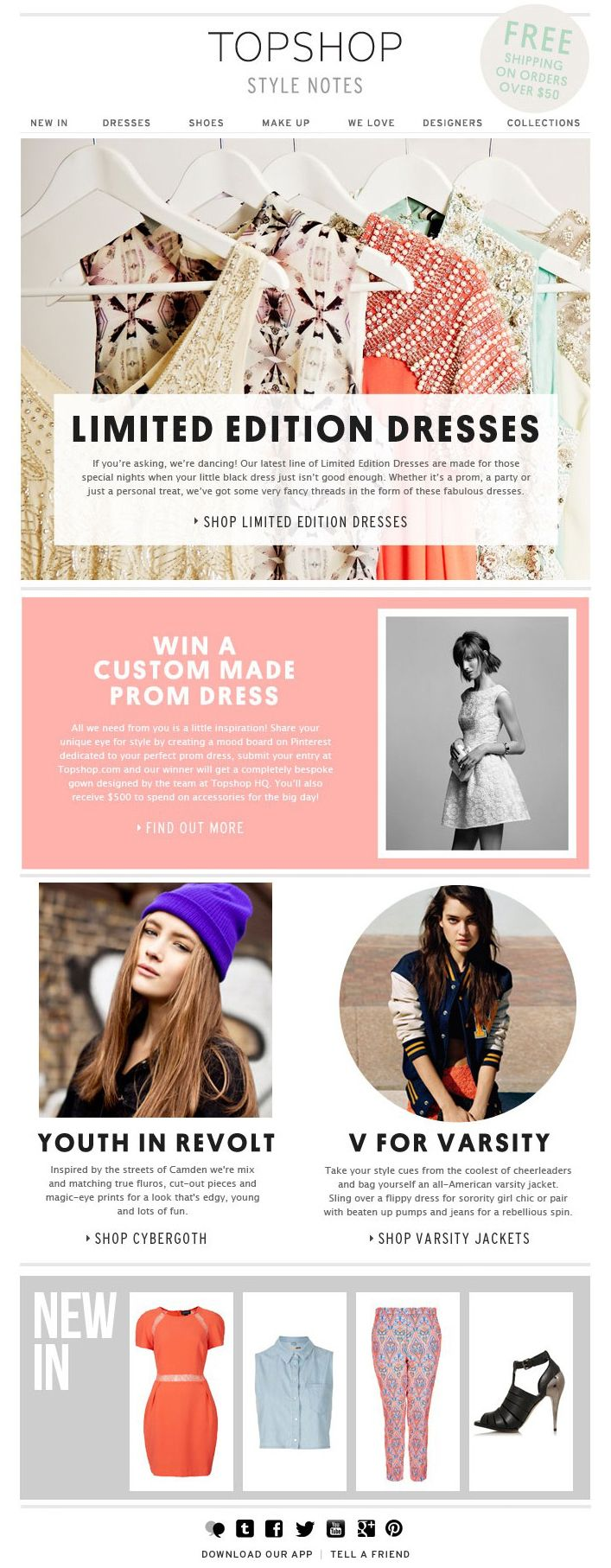 I love this Top Shop newsletter because of it's simplistic style. It uses hierarchy because even though there are a few different topics and sections, there is still a main focus on the title and feature (limited edition dresses) The colors, shapes, fonts, all add to the style of the company