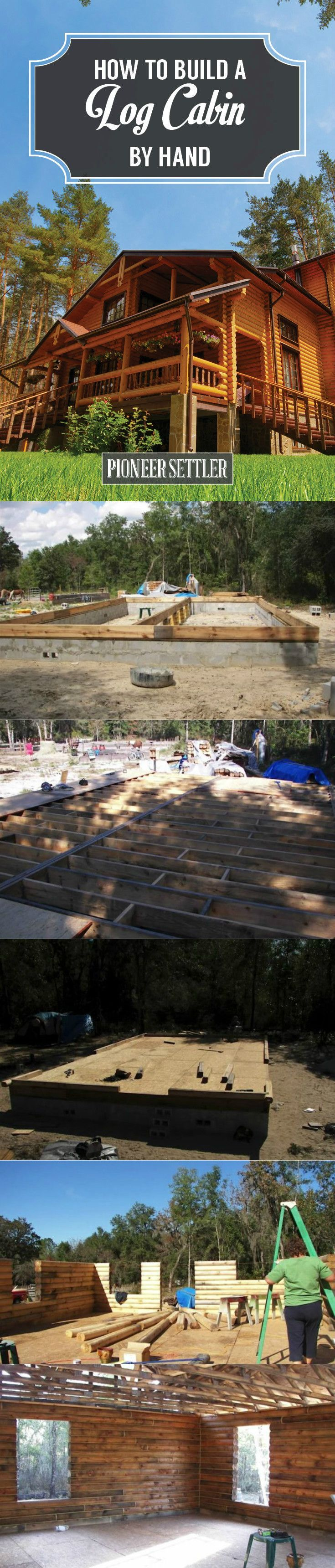 How to Build a Log Cabin By Hand - Homesteading Ideas   Step By Step Tutorial by Pioneer Settler at http://pioneersettler.com/build-log-cabin-by-hand/