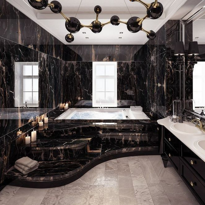 Dark Marble Bathroomdesigns: 36+Techniques For Luxury Modern Bathroom Designs With