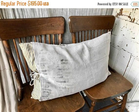LABOUR DAY SALE Grain - reconstructed vintage german grain sack pillow by yahbag on Etsy https://www.etsy.com/ca/listing/540078030/labour-day-sale-grain-reconstructed
