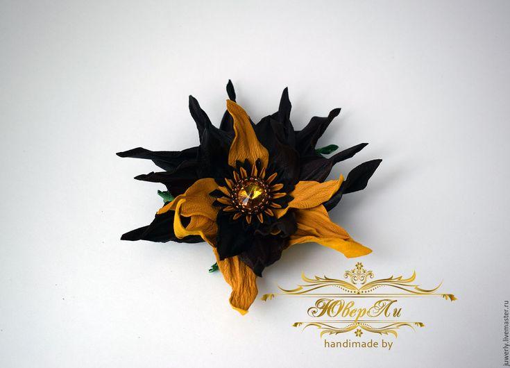 Купить Украшение брошь цветок из кожи Рудбукия коричневая с желтым - коричневый, желтый, осень, брошь