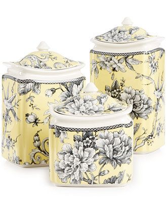 222 Fifth Fine China 6-Pc. Adelaide Yellow Lidded Canister Set - Serveware - Dining & Entertaining - Macy's