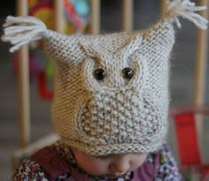шапка-сова спицами
