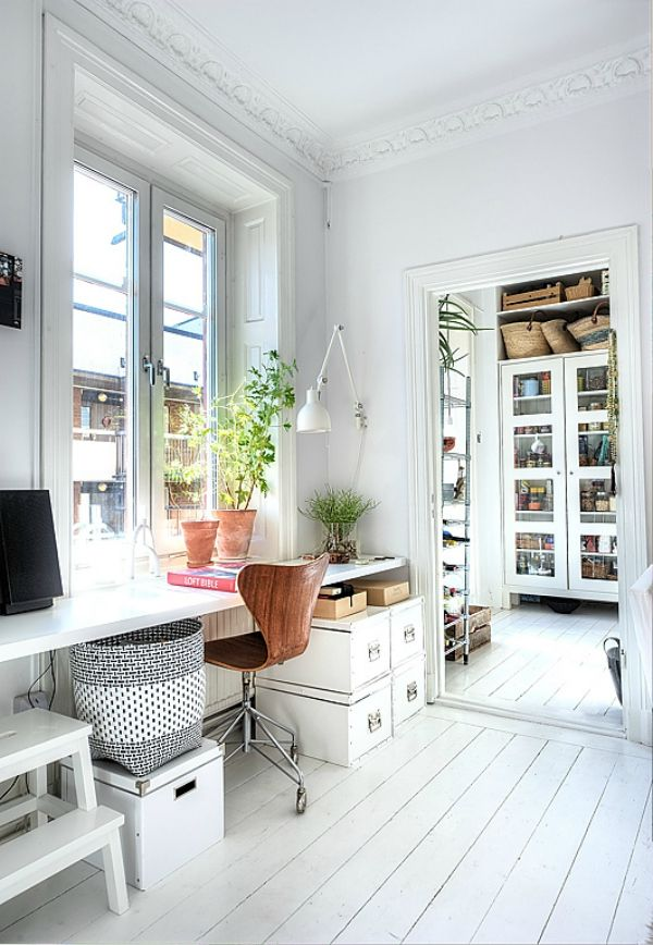 lovely white office space, with big window, green from plant, white floorboards and rustic baskets plus also love the organisation / organising
