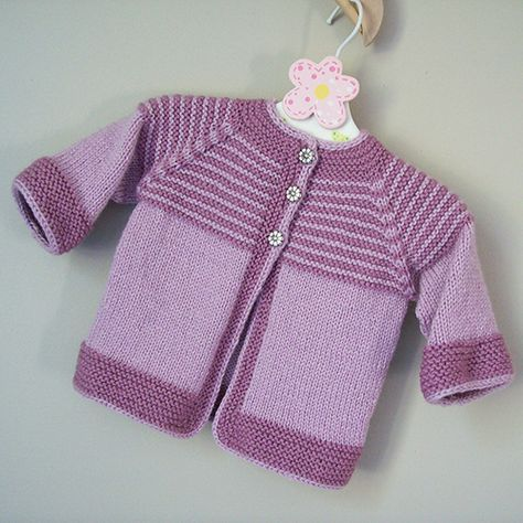 Garter Yoke Baby Cardigan free Knitting Pattern More