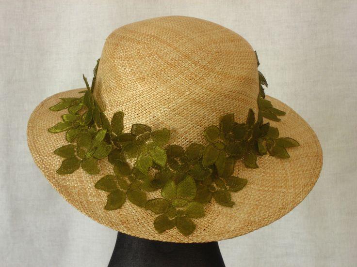 zomer stro hoed met groene kant - Cap'a di Carina