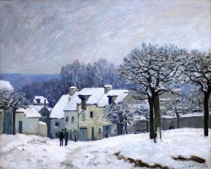 Alfred Sisley. La Place du Chenil à Marly, effet de neige (1876)