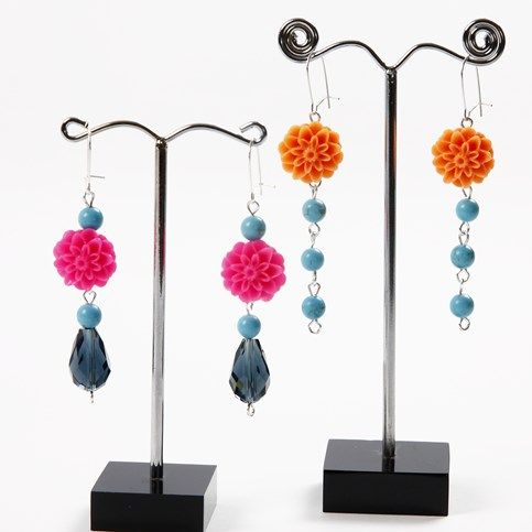 13217 Earrings with Stone, Resin and Glass Beads
