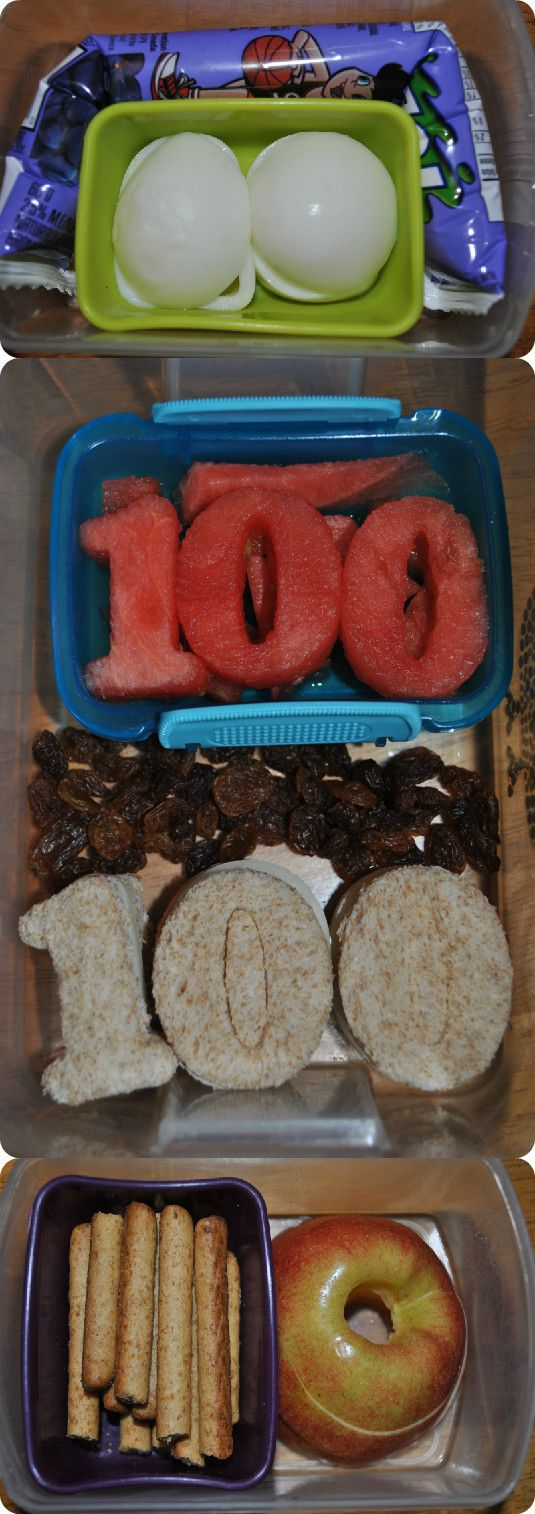 School lunch Peanut free lunch plus two snacks 100th day of school use mini bagels to look like 0