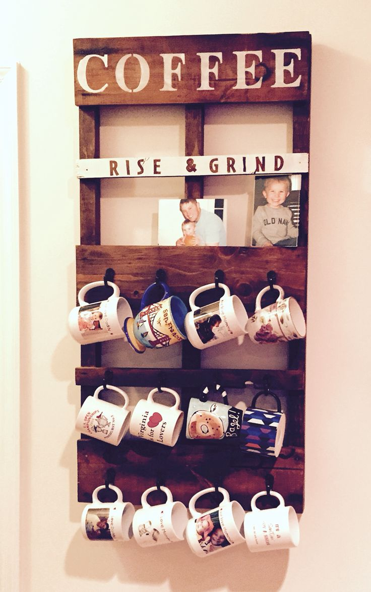 DIY pallet coffee mug holder and picture frame holder :)  I'm so glad I made this!!