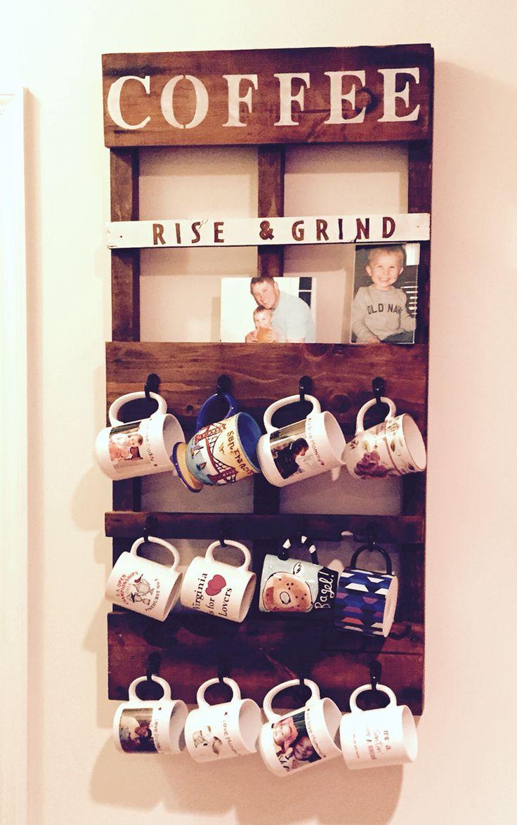DIY pallet coffee mug holder and picture frame holder :)  I'm so glad I made this!!