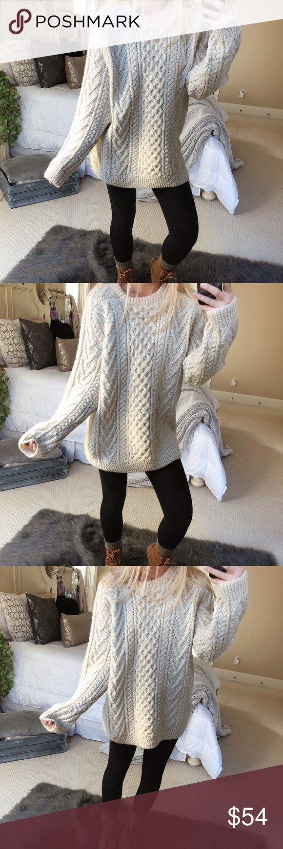 chunky cream knit sweater gorgeous creamy-off white chunky hand knitted sweater. so incredible and luxurious 🍃🍂 fits a size medium or large 🌲☕️ — * all offers 100% welcomed + encouraged * bundle for a private discount of at least 20% off  * orders guaranteed to ship within 1-2 days unless stated otherwise * ask me any questions if you ever have any! xo Sweaters