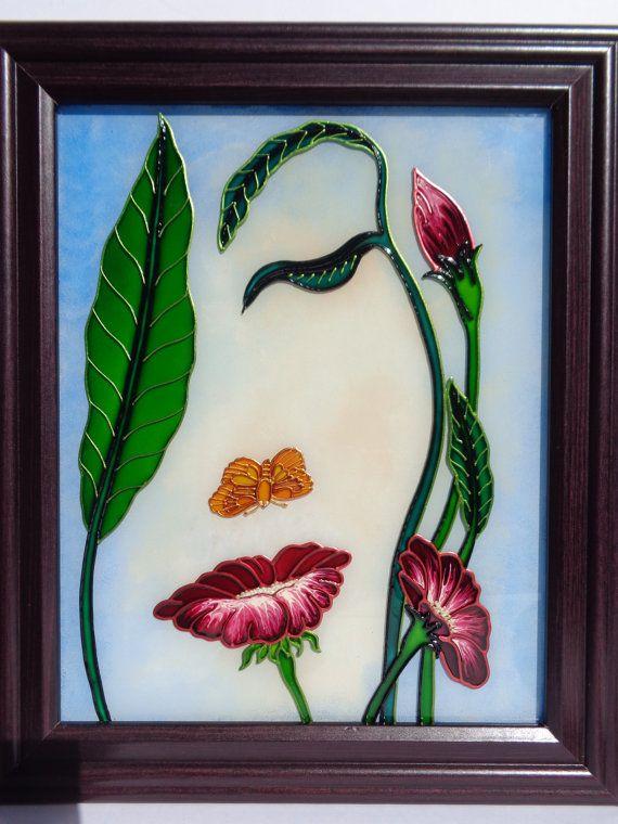 Fleur art verre peinture Flowerscape peinture de paysage peint en verre
