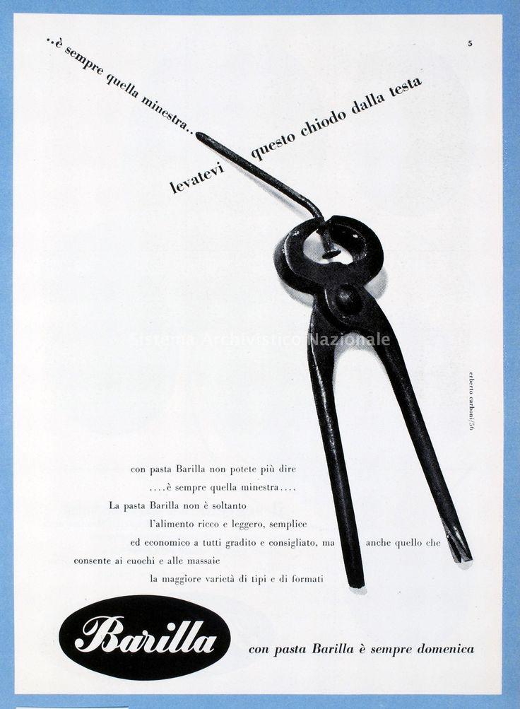 1956 - Barilla, annuncio pubblicitario, ideato da Erberto Carboni, promuove, con rigore formale di gusto razionalista, le nuove confezioni di pasta Barilla