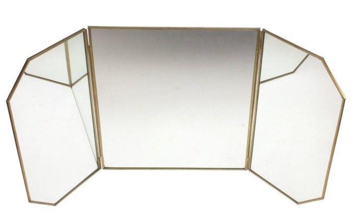 Spiegel 3 Teilig Gold Messing Schminkspiegel Standspiegel