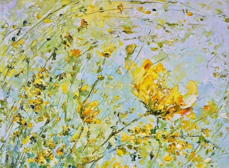 Картина маслом на кухню желтая мимоза. Объемная живопись. Маткина Марина.