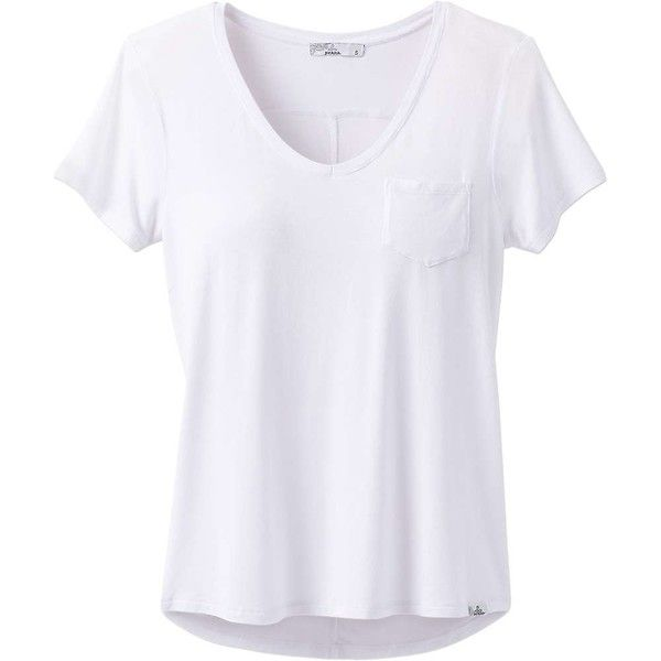 Prana Women's Foundation SS V Neck Top ($45) ❤ liked on Polyvore featuring tops, t-shirts, white, short sleeve pocket t shirts, v neck tee, stretch v neck t shirts, pocket tees and stretch t shirt