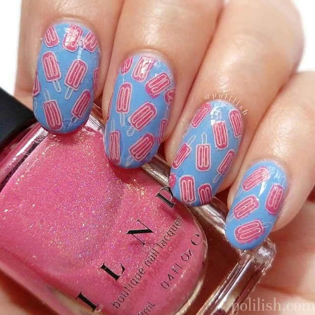 Popsicle / ice pop nail art with reverse stamping, by polilish. YouTube tutorial here! - http://www.youtube.com/watch?v=4sPbmxiBkHE
