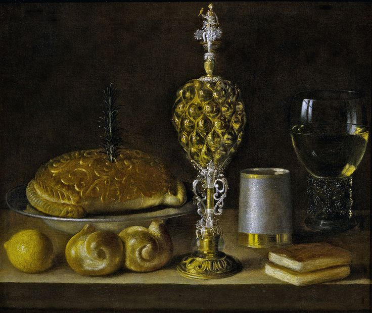 SEBASTIAN STOSKOPFF (Strasbourg 1597- Idstein 1657)    A Still-Life of Drinking Vessels, a Pineapple Cup, a Lemon, Bread and Two Small Books    oil on canvas    In a mid-sixteenth century aged antique gold Venetian style frame with an  open carved drum of slightly reversed position and auricular motifs in the carvings    19 1/4 x 23 3/8 inches          (49.3 x 59.5 cm.)    (750×632)