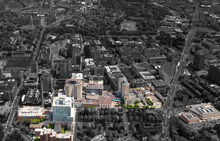 Ariel view of Brigham and Women's Hospital Boston