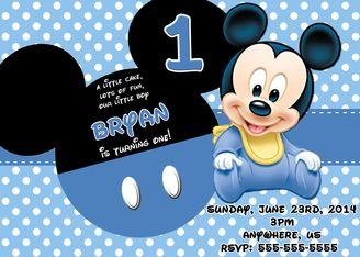 disney baby mickey birthday invitations
