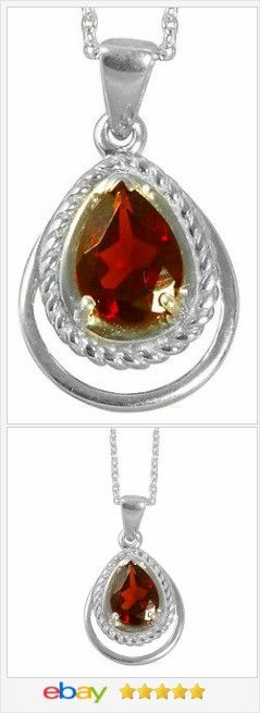Garnet Pear cut 5 carat Solitaire Pendant Sterling USA Seller #ebay http://stores.ebay.com/JEWELRY-AND-GIFTS-BY-ALICE-AND-