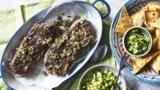 Marinated ribs with tomatillo salsa, guacamole and tortilla chips