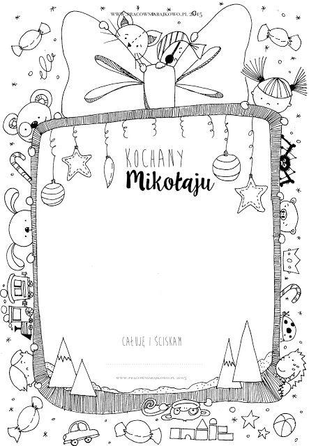 145* List do Świętego Mikołaja /szablon do druku/ Letter to Santa   dobrze narysowane...