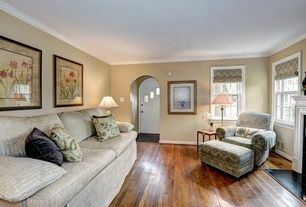 Traditional Living Room with High ceiling, Ash - Butterscotch 2 1/4 in. Solid Hardwood Strip, Gold Sparrow Hampton Loveseat