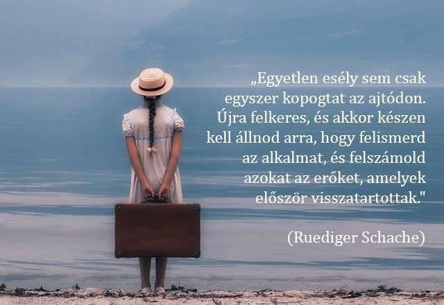 Ruediger Schache gondolata az esélyekről. A kép forrása: Női koktél, nemcsak nőknek # Facebook