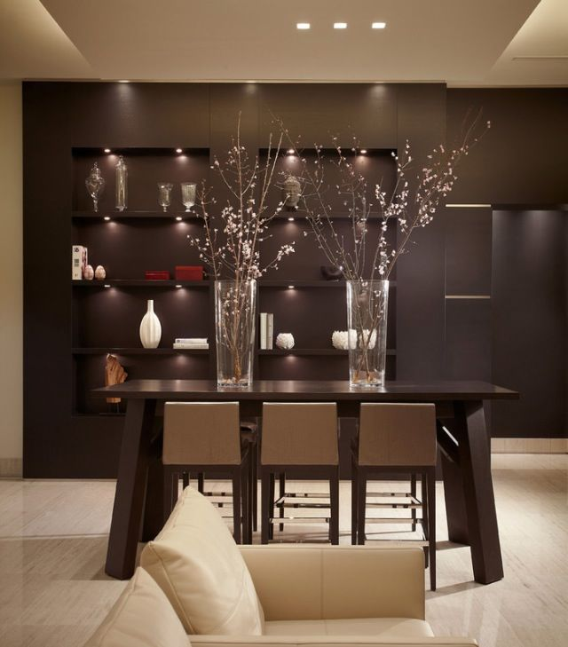 Dark Colors And Modern Lighting Gives This #contemporary Dining Room Its  Own Character.