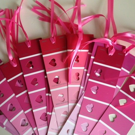 Book markers with paint samples - cute gift idea with a romance novel for gal pals I have a snowflake cut out to do this with blue! Love it for a teacher too!! Kids lil hand outs for party favors! Fun!!!