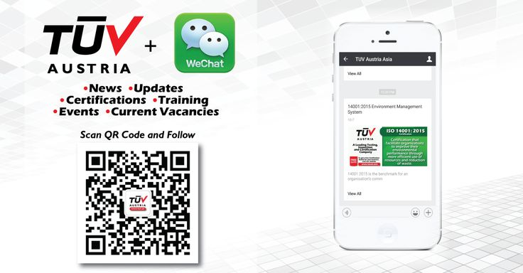 """Find Our official account """"TUV Austria Asia"""" on WeChat For latest news and updates! http://tuvat.asia - TUV Austria is a leading Testing, Inspection and certification company. #ISO #TUV #certification #pakistan #Srilanka #iso9001 #bangladesh #srilanka #lahore #karachi #colombo #dhaka #wechat"""