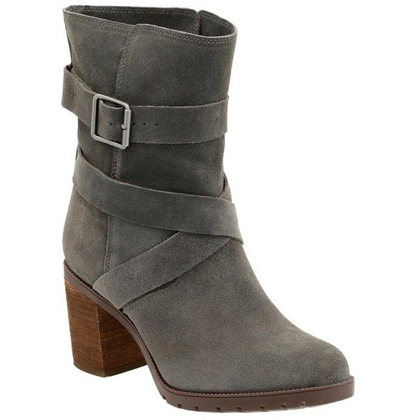 Women's Clarks 'Malvet Doris' Moto Boot ($160) ❤ liked on Polyvore featuring shoes, boots, dark grey suede, clarks shoes, stacked heel boots, ortholite shoes, clarks footwear and clarks boots