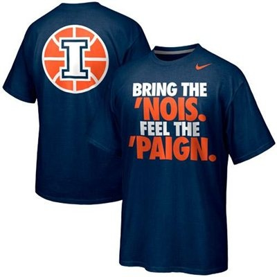 Nike Illinois Fighting Illini Basketball Bring the 'Nois. Feel The 'Paign Campus Roar T-Shirt -Navy Blue