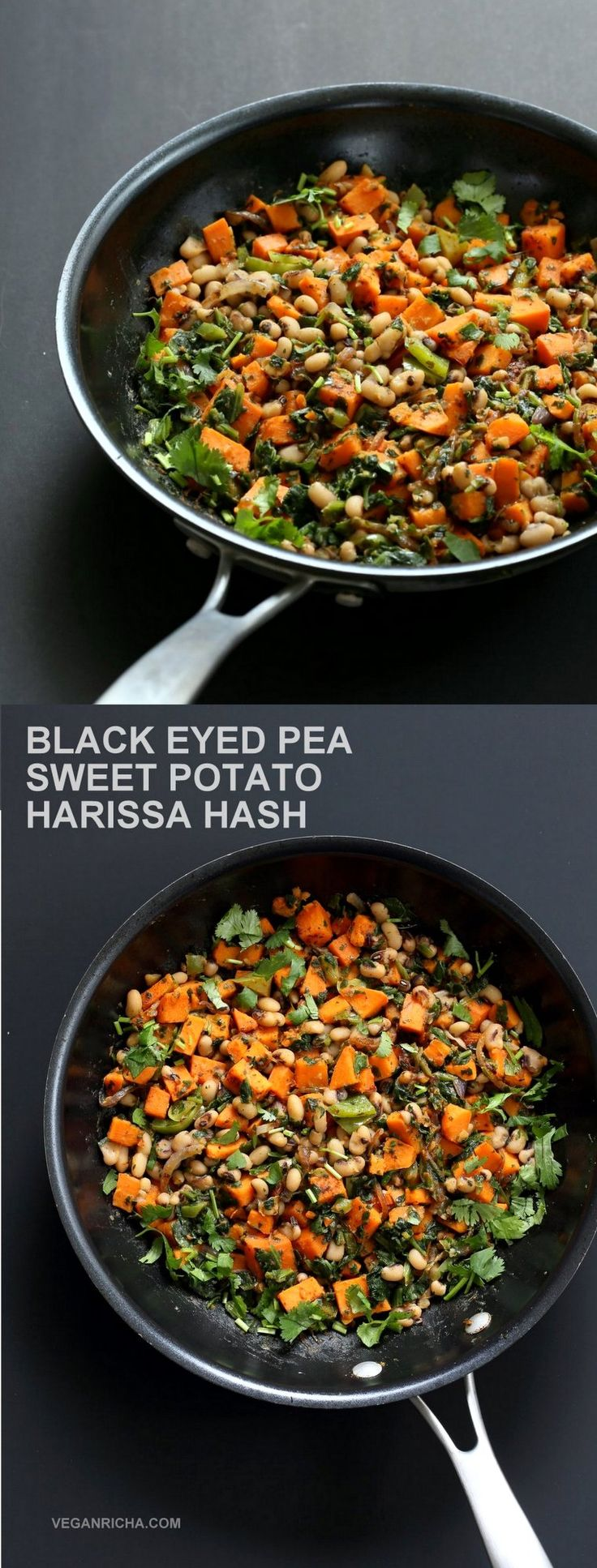 Black Eyed Pea + Sweet Potato Hash with Harissa Spice. #Vegan #Glutenfree #Soyfree