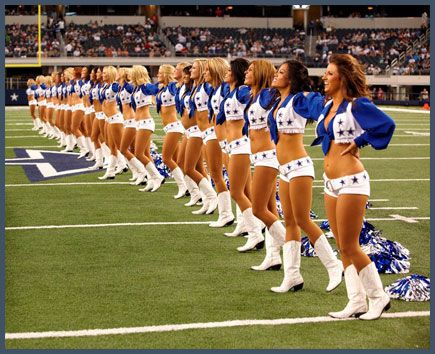 since i was 14 I always said that I would be a cowboy cheerleader one. Well by next year I will be trying out and we will see what will happen! Gives me a year to get back in shape!!!