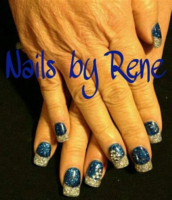 Day 225: Blue and Silver Sparkle Nail Art - - NAILS Magazine