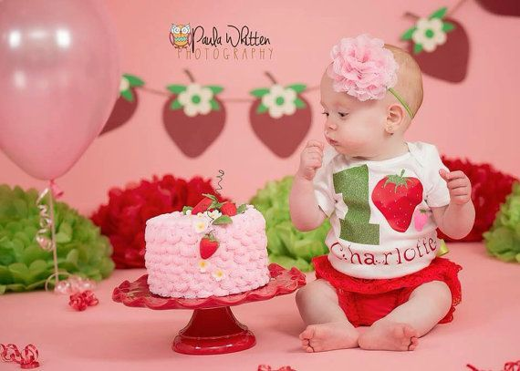 Strawberry Birthday Shirt, Bloomer, and Headband- red, pink, green, shortcake, personalized, baby girl, toddler, cake smash, first birthday by KutieTuties