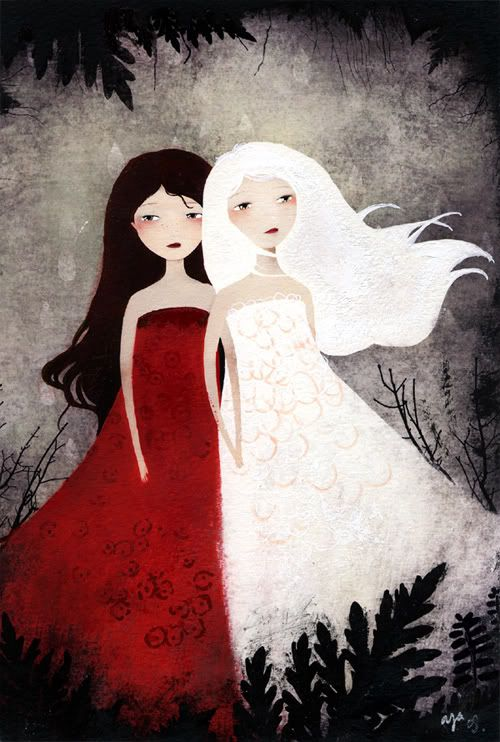 """Anne-Julie Aubry  """"Snow-White & Rose-Red""""  digital printing with acrylics and pencils on Arches paper  5 x 7 1/4 inches  11 x 15 inches framed  $250.00 - SOLD  Inspired by the text of: Snow-White and Rose-Red, Brothers Grimm"""