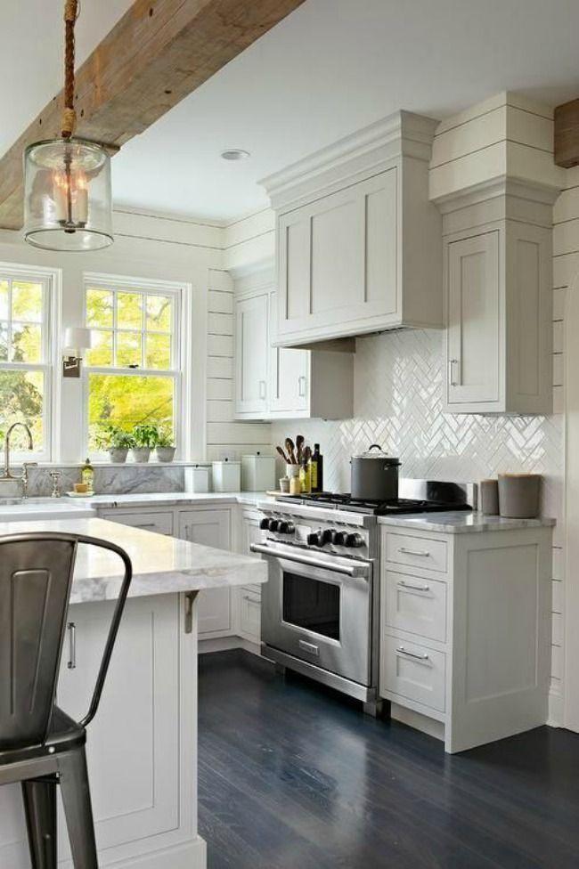 via Decorpad, 20 Modern Farmhouse Kitchens via A Blissful Nest #kitchen #kitchenideas #kitchendecor #kitchencabinet #farmhouse #farmhousekitchen #farmhousestyle #woodbeam #grey #gray #graycabinets