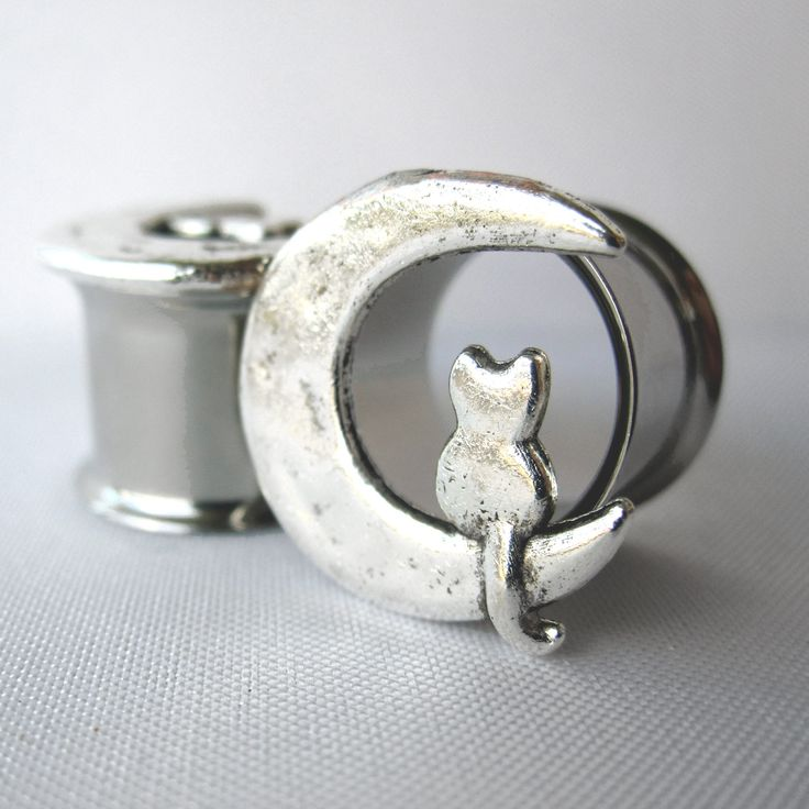"Pair of Unique Silver Cat and Moon Tunnels - Girly Plugs - Feminine Gauges - 00g, 7/16"", 1/2"", 9/16"" (10mm, 11mm, 12mm, 14mm) - Bohemian by WhimsyByKrista on Etsy"