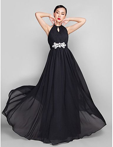 A-Line High Neck Floor Length Chiffon Formal Evening Military Ball Wedding Party Dress with Beading by TS Couture®